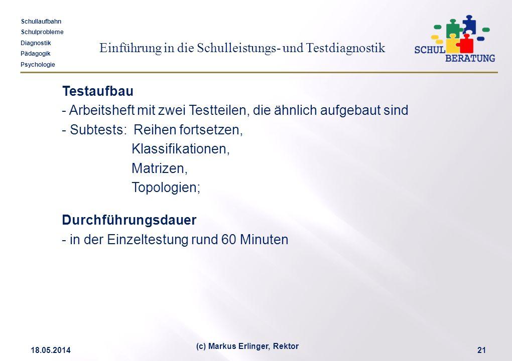 Einführung in die Schulleistungs- und Testdiagnostik Schullaufbahn Schulprobleme Diagnostik Pädagogik Psychologie 18.05.201421 (c) Markus Erlinger, Re
