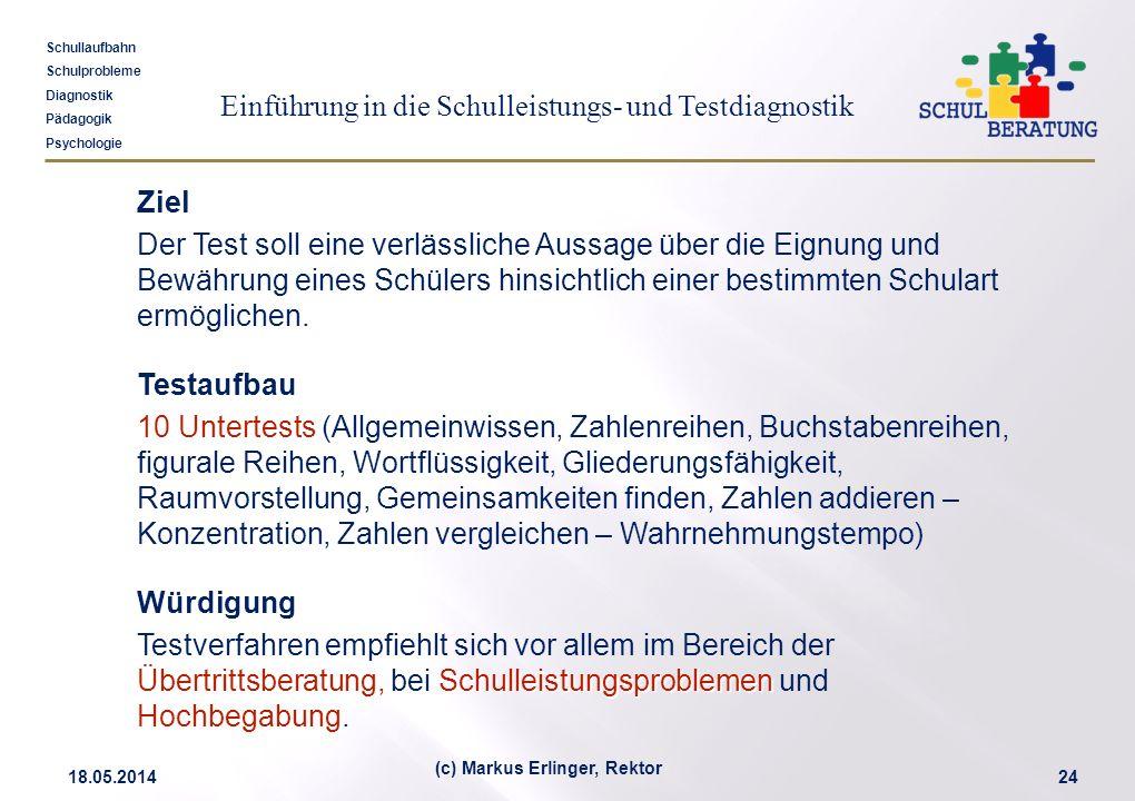 Einführung in die Schulleistungs- und Testdiagnostik Schullaufbahn Schulprobleme Diagnostik Pädagogik Psychologie 18.05.201424 (c) Markus Erlinger, Re