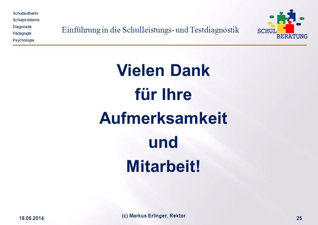 Einführung in die Schulleistungs- und Testdiagnostik Schullaufbahn Schulprobleme Diagnostik Pädagogik Psychologie 18.05.201425 (c) Markus Erlinger, Re