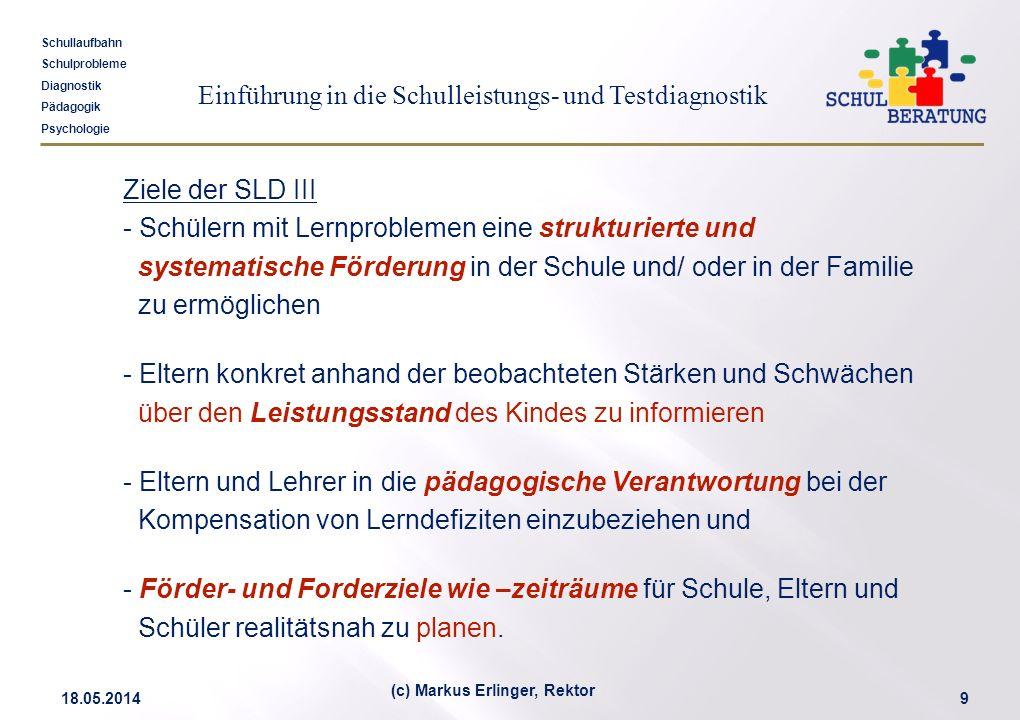 Einführung in die Schulleistungs- und Testdiagnostik Schullaufbahn Schulprobleme Diagnostik Pädagogik Psychologie 18.05.20149 (c) Markus Erlinger, Rek