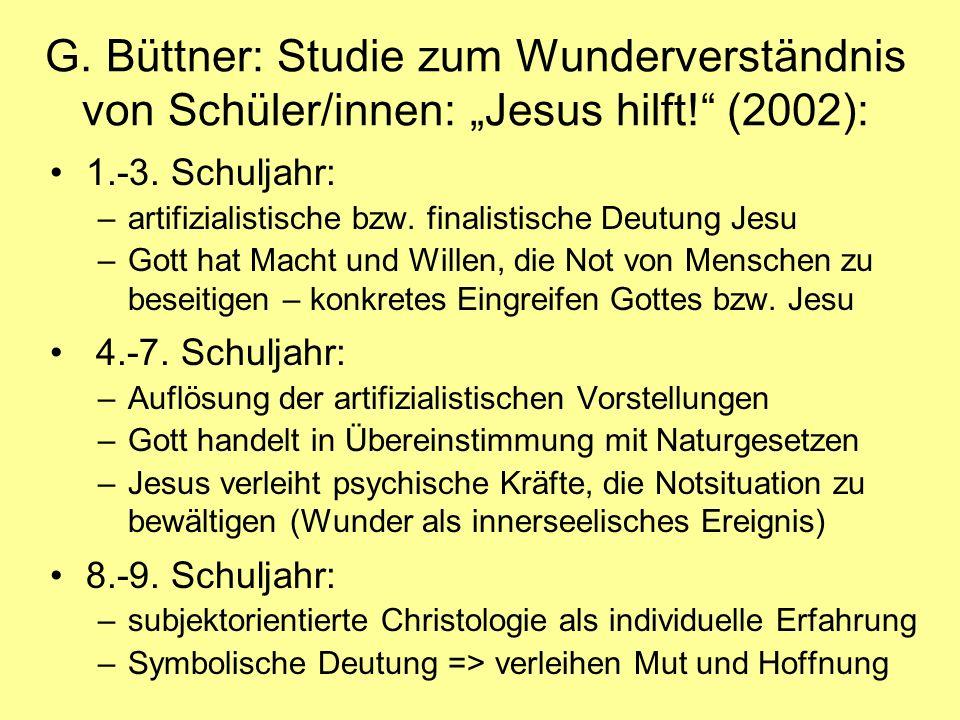 G.Büttner: Studie zum Wunderverständnis von Schüler/innen: Jesus hilft.