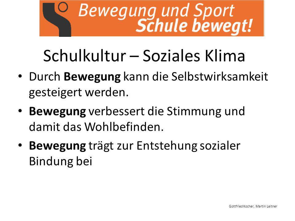 Gottfried Kocher, Martin Leitner Schulkultur – Soziales Klima Durch Bewegung kann die Selbstwirksamkeit gesteigert werden.