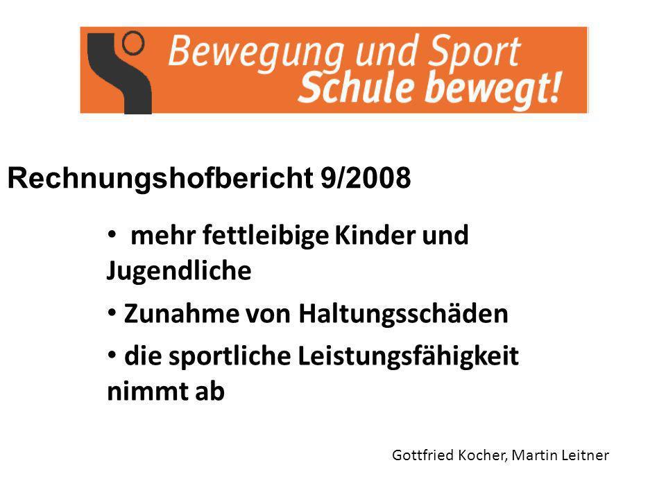 Rechnungshofbericht 9/2008 Gottfried Kocher, Martin Leitner mehr fettleibige Kinder und Jugendliche Zunahme von Haltungsschäden die sportliche Leistungsfähigkeit nimmt ab