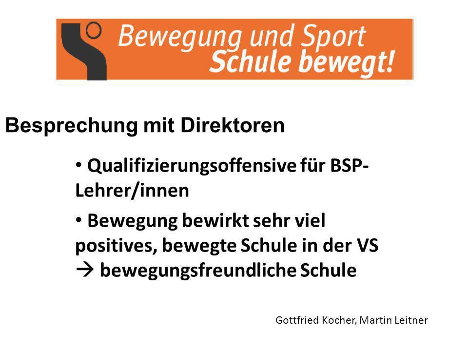 Besprechung mit Direktoren Gottfried Kocher, Martin Leitner Qualifizierungsoffensive für BSP- Lehrer/innen Bewegung bewirkt sehr viel positives, bewegte Schule in der VS bewegungsfreundliche Schule