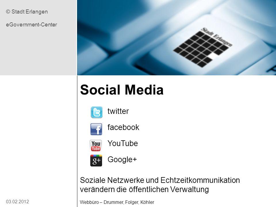 Social Media twitter facebook YouTube Google+ Soziale Netzwerke und Echtzeitkommunikation verändern die öffentlichen Verwaltung Webbüro – Drummer, Fol