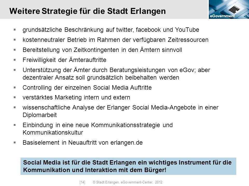 eGovernment [14] © Stadt Erlangen, eGovernment-Center, 2012 Weitere Strategie für die Stadt Erlangen grundsätzliche Beschränkung auf twitter, facebook