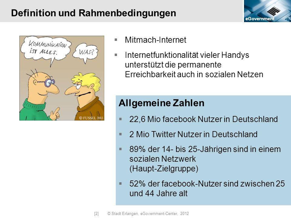 eGovernment [2] © Stadt Erlangen, eGovernment-Center, 2012 Definition und Rahmenbedingungen Mitmach-Internet Internetfunktionalität vieler Handys unte
