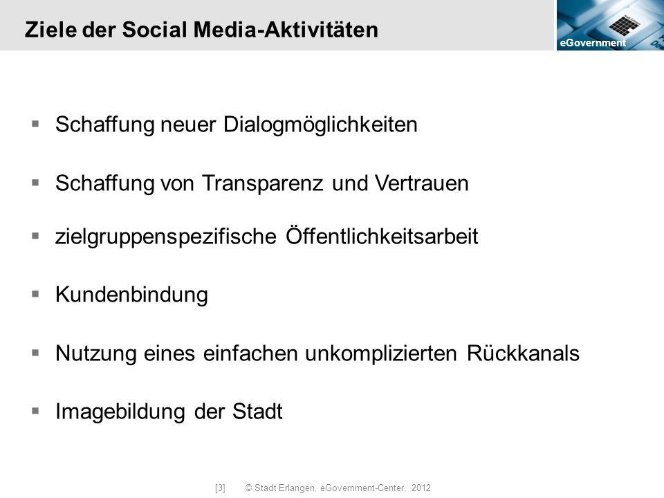 eGovernment [3] © Stadt Erlangen, eGovernment-Center, 2012 Ziele der Social Media-Aktivitäten Schaffung neuer Dialogmöglichkeiten Schaffung von Transp