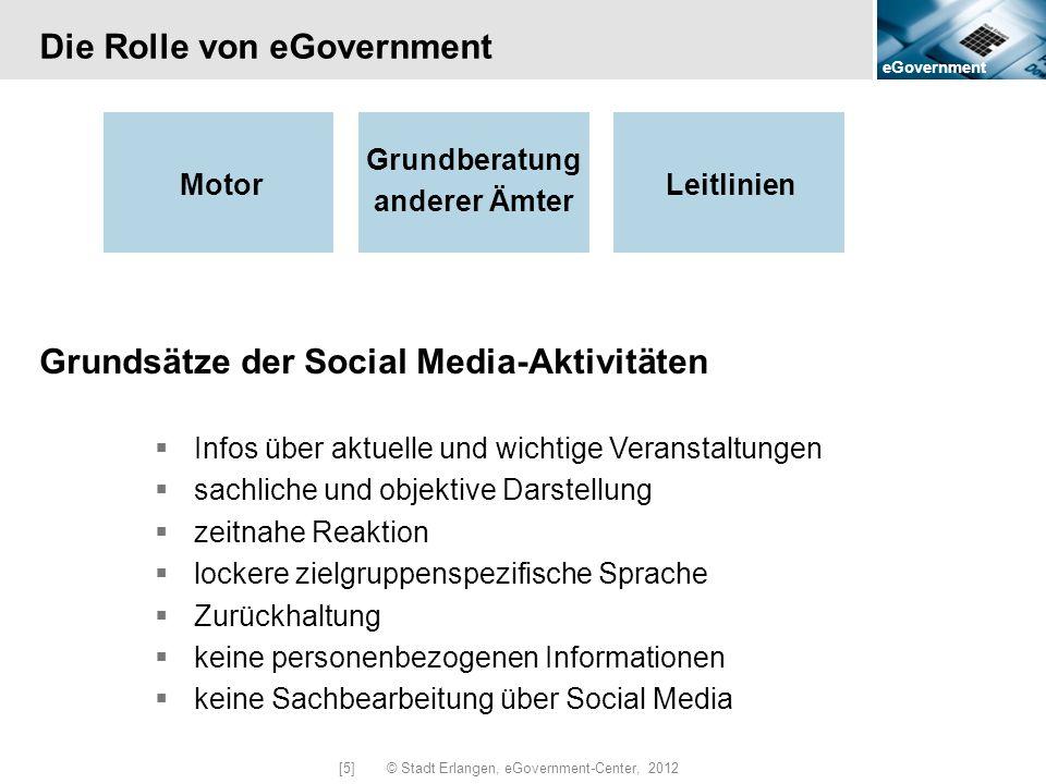 eGovernment [5] © Stadt Erlangen, eGovernment-Center, 2012 Die Rolle von eGovernment Motor Grundsätze der Social Media-Aktivitäten Infos über aktuelle