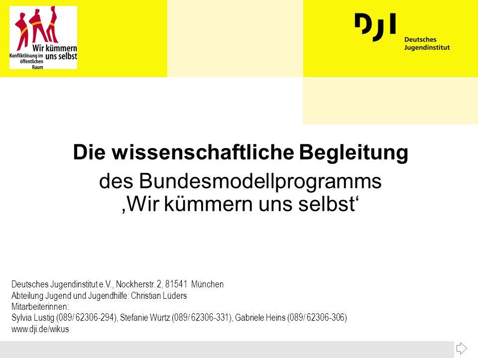 Die wissenschaftliche Begleitung des Bundesmodellprogramms Wir kümmern uns selbst Deutsches Jugendinstitut e.V., Nockherstr.