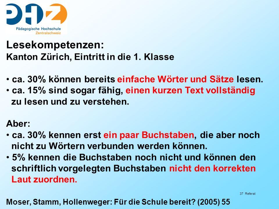 37 Referat Lesekompetenzen: Kanton Zürich, Eintritt in die 1.