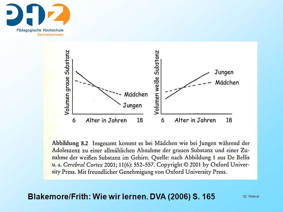 62 Referat Blakemore/Frith: Wie wir lernen. DVA (2006) S. 165