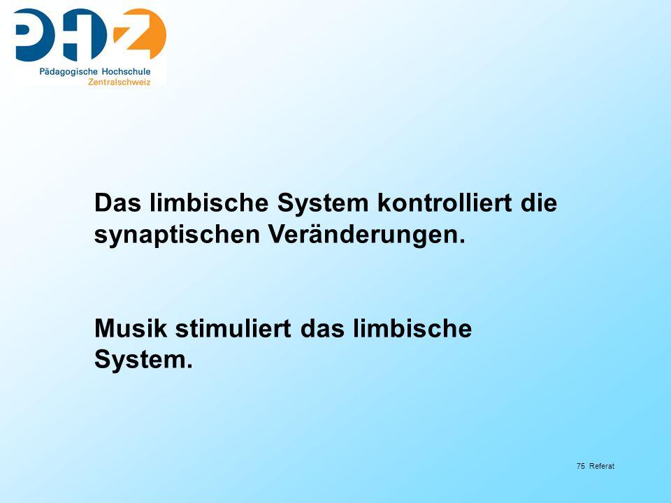 75 Referat Das limbische System kontrolliert die synaptischen Veränderungen.