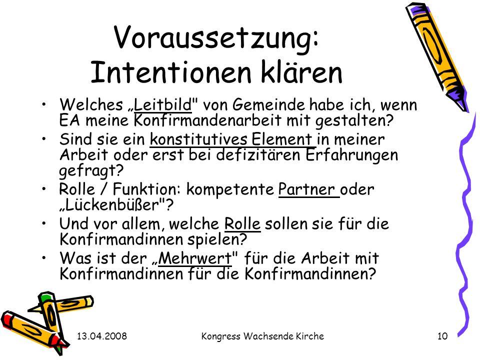 13.04.2008Kongress Wachsende Kirche10 Voraussetzung: Intentionen klären Welches Leitbild