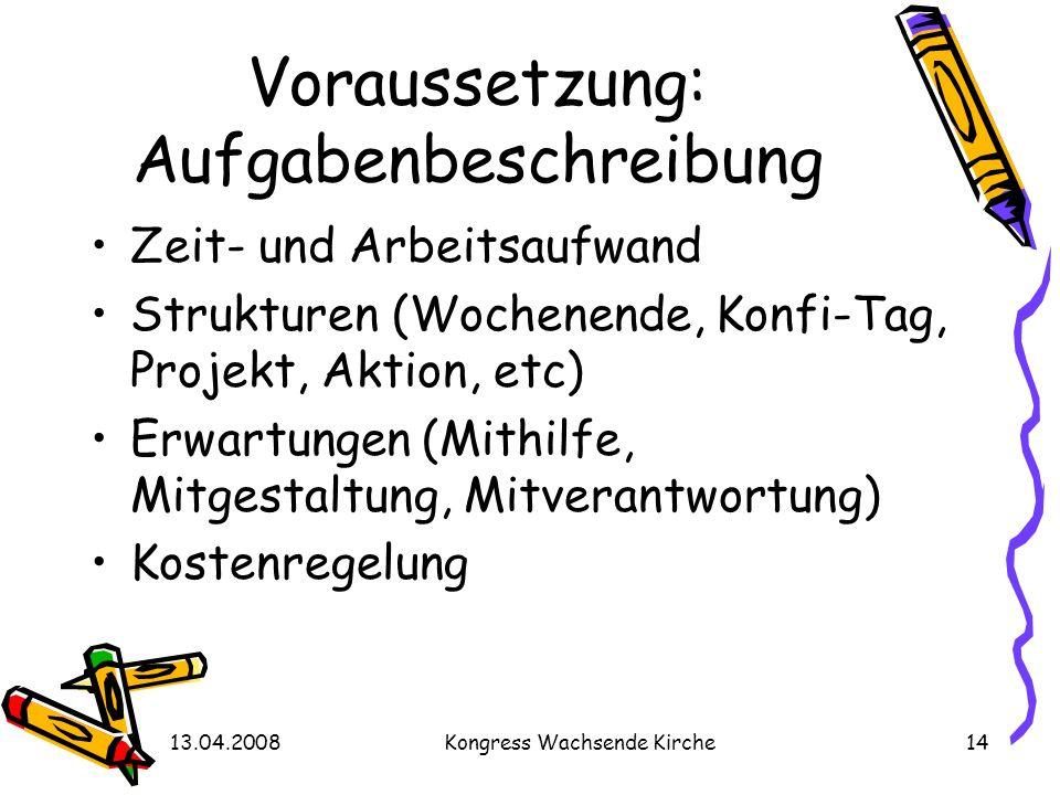 13.04.2008Kongress Wachsende Kirche14 Voraussetzung: Aufgabenbeschreibung Zeit- und Arbeitsaufwand Strukturen (Wochenende, Konfi-Tag, Projekt, Aktion,