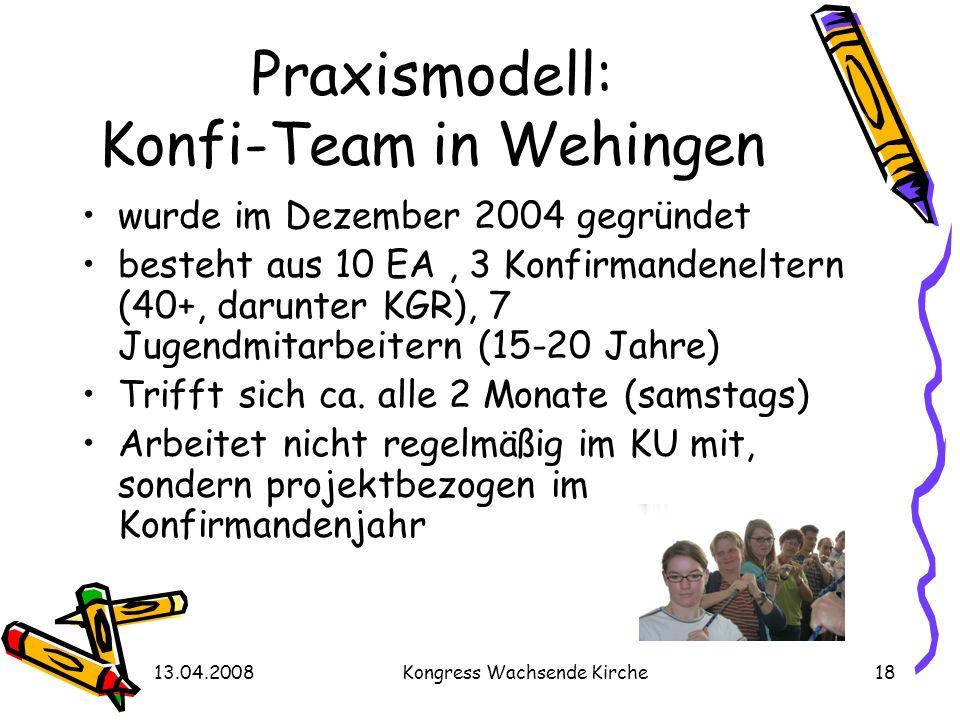 13.04.2008Kongress Wachsende Kirche18 Praxismodell: Konfi-Team in Wehingen wurde im Dezember 2004 gegründet besteht aus 10 EA, 3 Konfirmandeneltern (4
