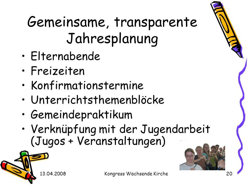 13.04.2008Kongress Wachsende Kirche20 Gemeinsame, transparente Jahresplanung Elternabende Freizeiten Konfirmationstermine Unterrichtsthemenblöcke Geme