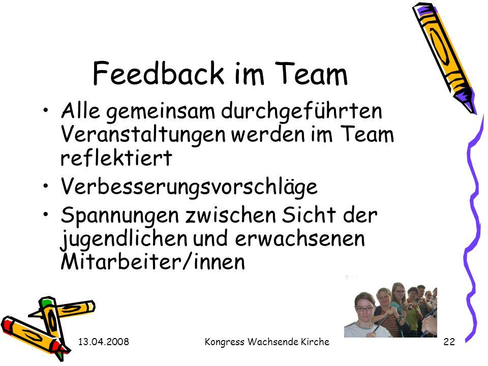 13.04.2008Kongress Wachsende Kirche22 Feedback im Team Alle gemeinsam durchgeführten Veranstaltungen werden im Team reflektiert Verbesserungsvorschläg