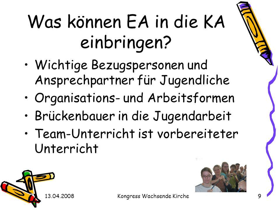 13.04.2008Kongress Wachsende Kirche9 Was können EA in die KA einbringen? Wichtige Bezugspersonen und Ansprechpartner für Jugendliche Organisations- un