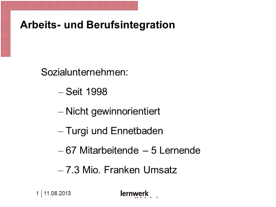 Arbeits- und Berufsintegration Sozialunternehmen: – Seit 1998 – Nicht gewinnorientiert – Turgi und Ennetbaden – 67 Mitarbeitende – 5 Lernende – 7.3 Mio.
