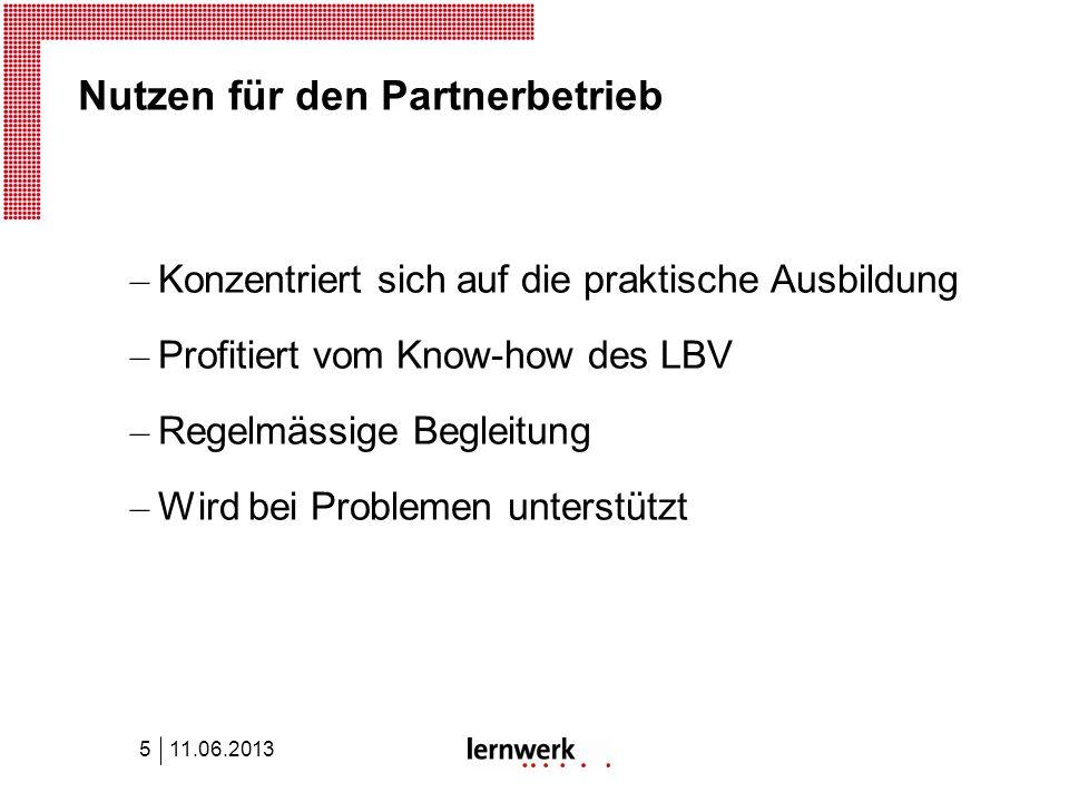 Nutzen für den Partnerbetrieb – Konzentriert sich auf die praktische Ausbildung – Profitiert vom Know-how des LBV – Regelmässige Begleitung – Wird bei Problemen unterstützt 11.06.20135