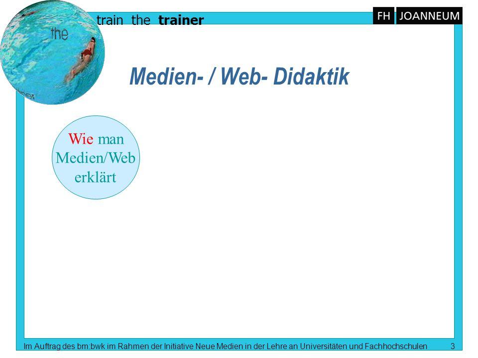 train the trainer Im Auftrag des bm:bwk im Rahmen der Initiative Neue Medien in der Lehre an Universitäten und Fachhochschulen 4 Medien- / Web- Didaktik Wie man Medien/Web erklärt Wie man mit Medien/Web erklärt