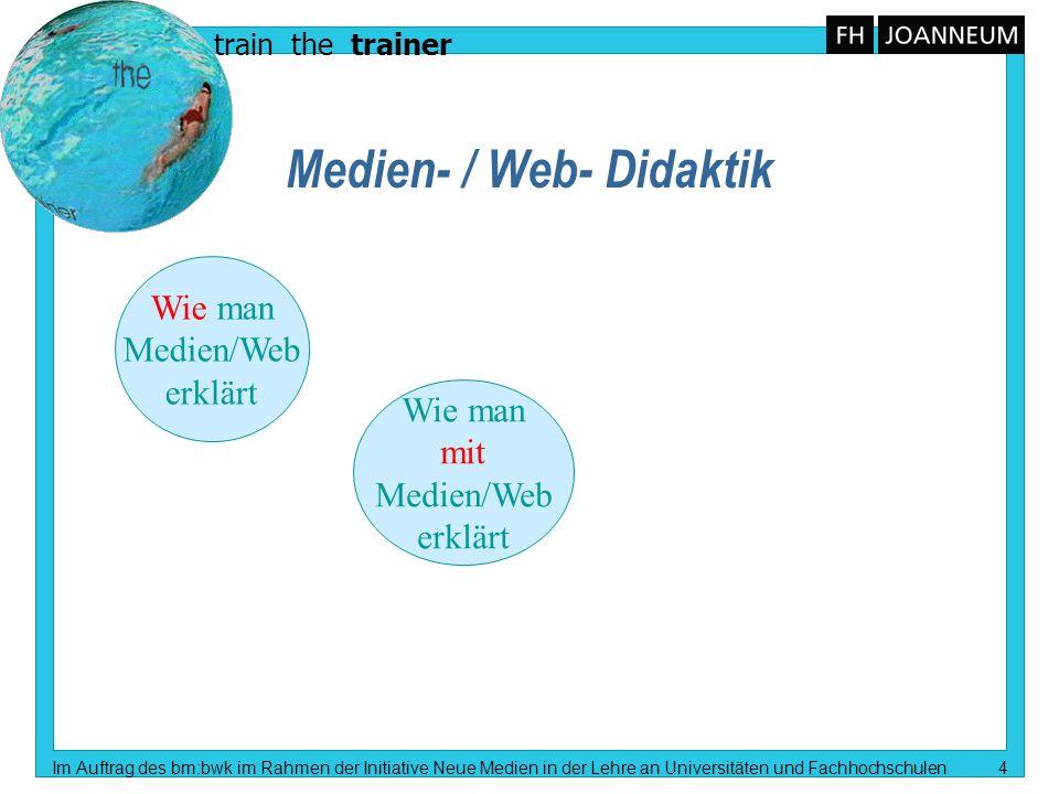 train the trainer Im Auftrag des bm:bwk im Rahmen der Initiative Neue Medien in der Lehre an Universitäten und Fachhochschulen 5 Medien- / Web- Didaktik Wie man Medien/Web erklärt Wie man mit Medien/Web erklärt Fach- Didaktik