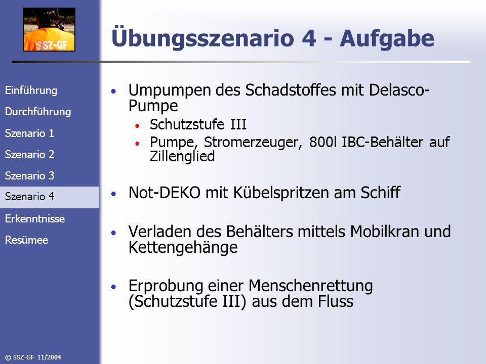 Einführung Durchführung Szenario 1 Szenario 2 Szenario 3 Szenario 4 Erkenntnisse Resümee © SSZ-GF 11/2004 Übungsszenario 4 - Aufgabe Umpumpen des Schadstoffes mit Delasco- Pumpe Schutzstufe III Pumpe, Stromerzeuger, 800l IBC-Behälter auf Zillenglied Not-DEKO mit Kübelspritzen am Schiff Verladen des Behälters mittels Mobilkran und Kettengehänge Erprobung einer Menschenrettung (Schutzstufe III) aus dem Fluss Szenario 4
