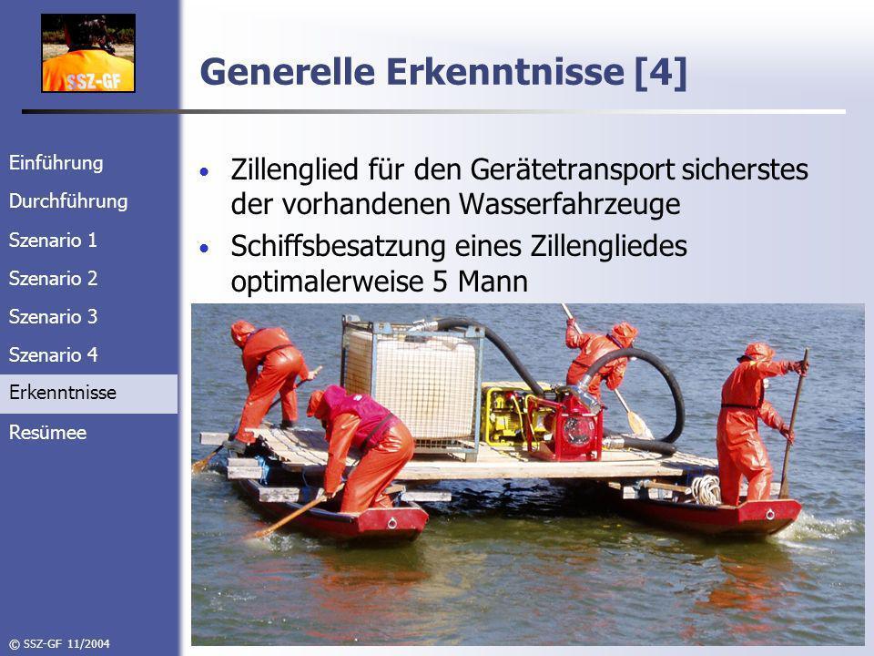 Einführung Durchführung Szenario 1 Szenario 2 Szenario 3 Szenario 4 Erkenntnisse Resümee © SSZ-GF 11/2004 Generelle Erkenntnisse [4] Zillenglied für den Gerätetransport sicherstes der vorhandenen Wasserfahrzeuge Schiffsbesatzung eines Zillengliedes optimalerweise 5 Mann Erkenntnisse
