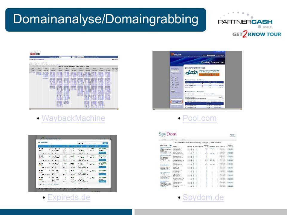 Domainanalyse/Domaingrabbing WaybackMachine Expireds.de Pool.com Spydom.de