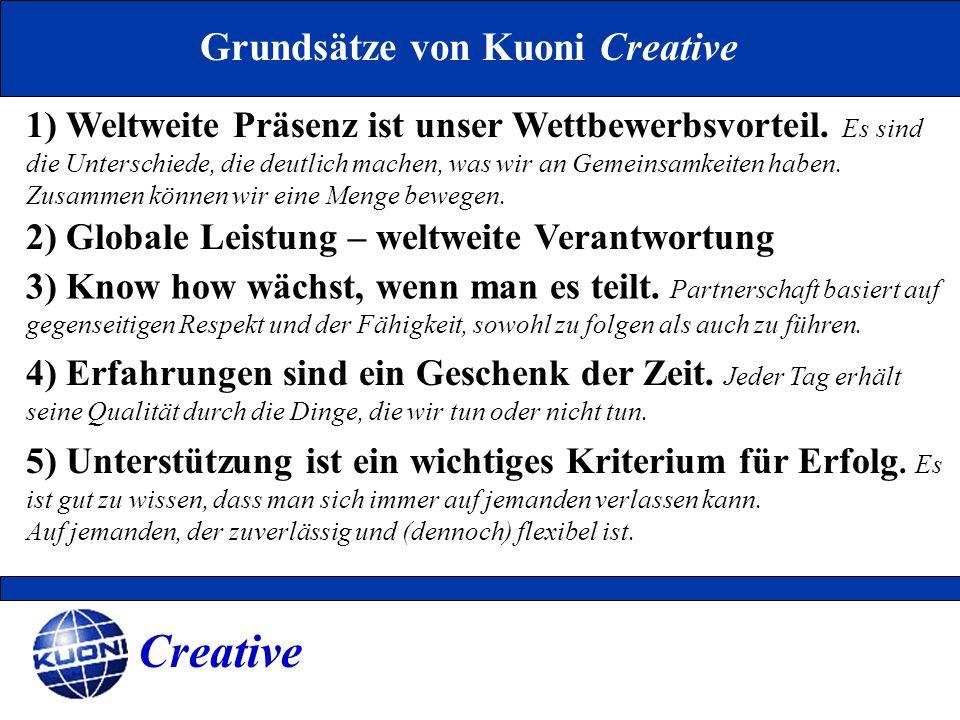 Grundsätze von Kuoni Creative 1) Weltweite Präsenz ist unser Wettbewerbsvorteil. Es sind die Unterschiede, die deutlich machen, was wir an Gemeinsamke