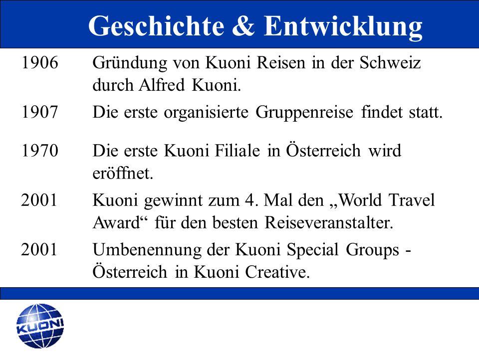 1906Gründung von Kuoni Reisen in der Schweiz durch Alfred Kuoni. 1907Die erste organisierte Gruppenreise findet statt. 1970Die erste Kuoni Filiale in