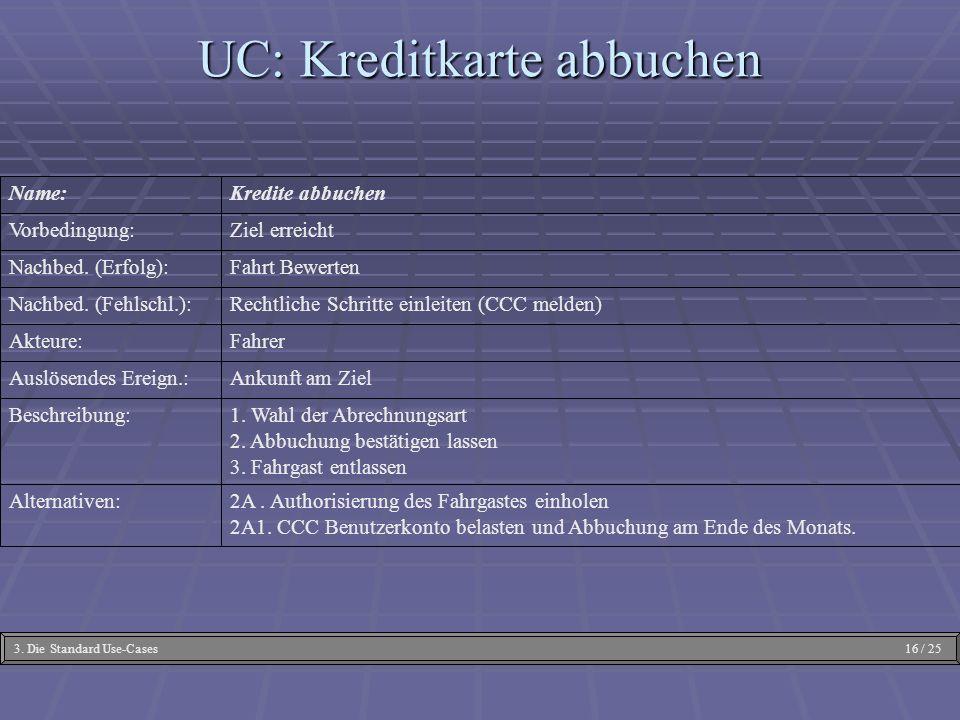 2A. Authorisierung des Fahrgastes einholen 2A1. CCC Benutzerkonto belasten und Abbuchung am Ende des Monats. Alternativen: 1. Wahl der Abrechnungsart