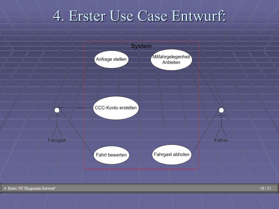 4. Erster Use Case Entwurf: 4. Erster UC Diagramm Entwurf 18 / 25