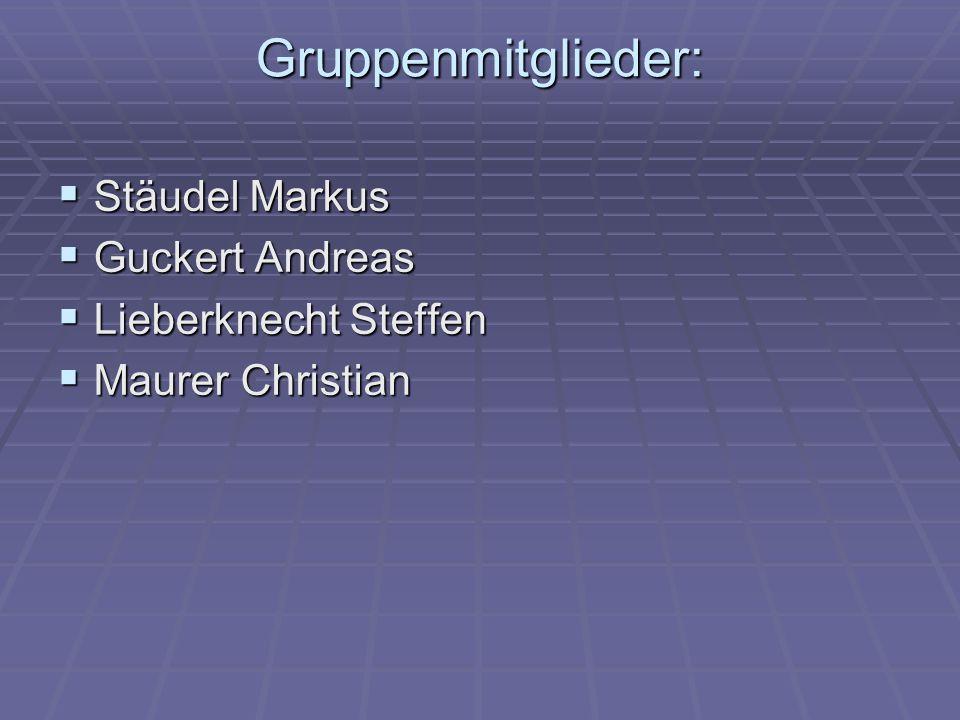 Gruppenmitglieder: Stäudel Markus Stäudel Markus Guckert Andreas Guckert Andreas Lieberknecht Steffen Lieberknecht Steffen Maurer Christian Maurer Chr