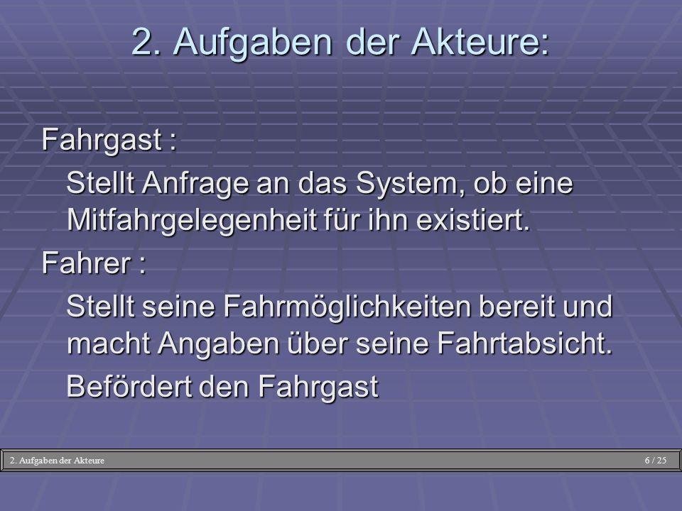 2. Aufgaben der Akteure: Fahrgast : Stellt Anfrage an das System, ob eine Mitfahrgelegenheit für ihn existiert. Stellt Anfrage an das System, ob eine