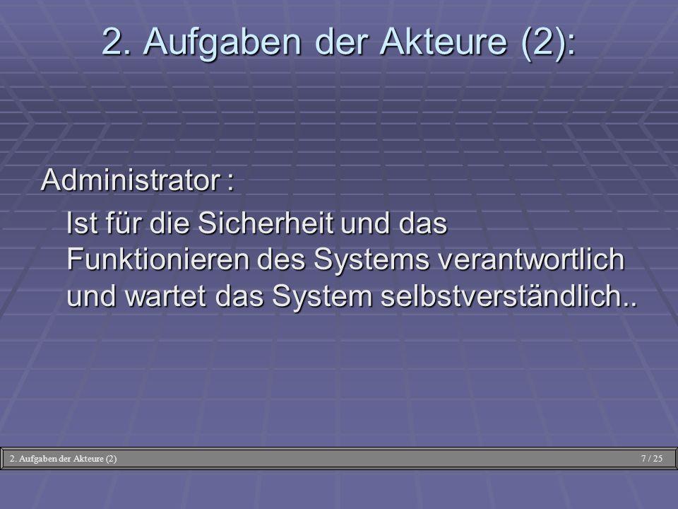 Administrator : Ist für die Sicherheit und das Funktionieren des Systems verantwortlich und wartet das System selbstverständlich.. Ist für die Sicherh
