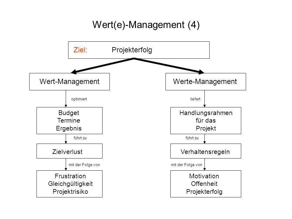 Ziel: Projekterfolg Wert-Management Werte-Management optimiert Budget Termine Ergebnis führt zu Zielverlust mit der Folge von Frustration Gleichgültig