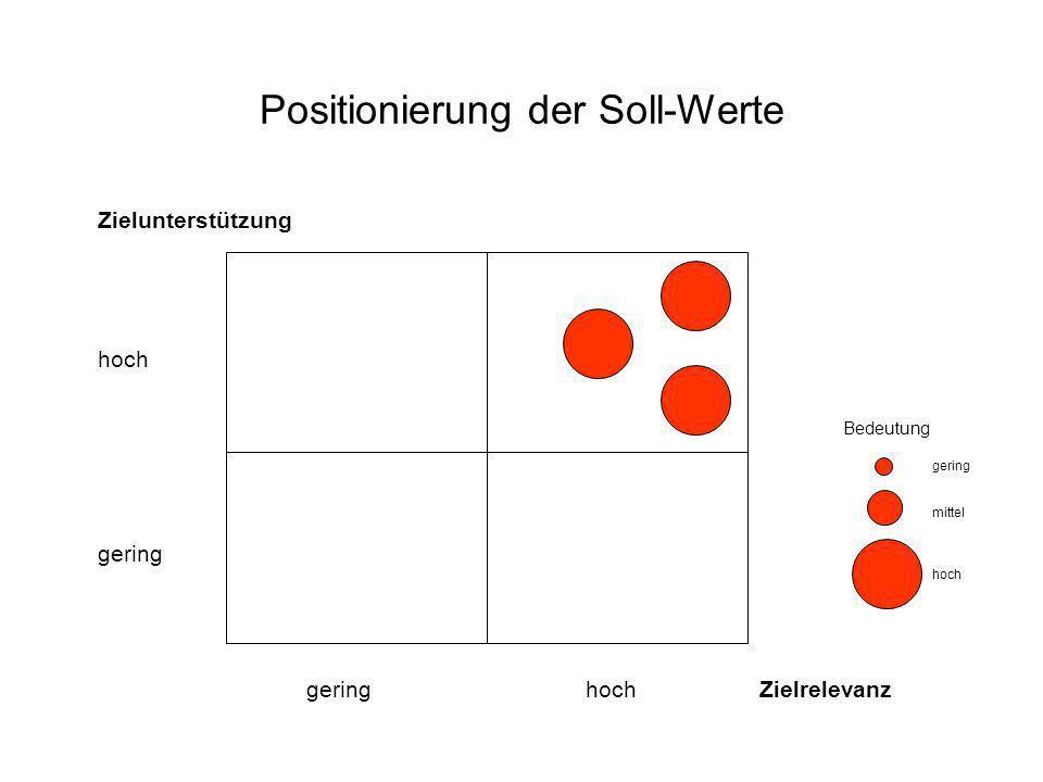 Positionierung der Soll-Werte Zielunterstützung hoch gering gering hoch Zielrelevanz Bedeutung gering mittel hoch