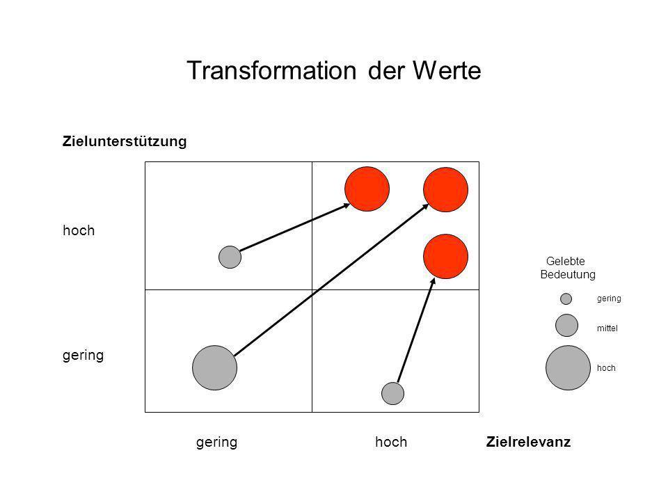 Transformation der Werte Zielunterstützung hoch gering gering hoch Zielrelevanz Gelebte Bedeutung gering mittel hoch