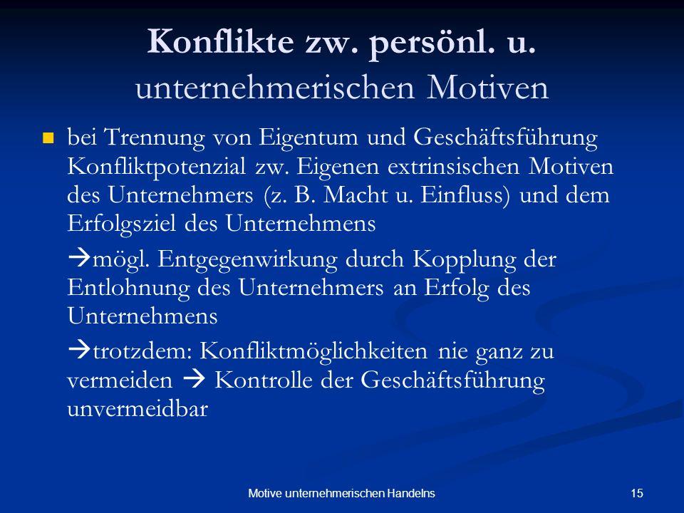 15Motive unternehmerischen Handelns Konflikte zw. persönl. u. unternehmerischen Motiven bei Trennung von Eigentum und Geschäftsführung Konfliktpotenzi