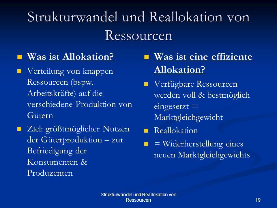 19 Strukturwandel und Reallokation von Ressourcen Was ist Allokation? Verteilung von knappen Ressourcen (bspw. Arbeitskräfte) auf die verschiedene Pro