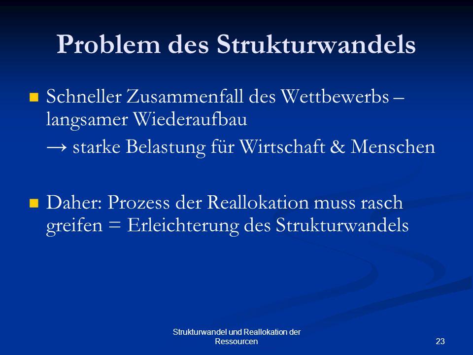 23 Strukturwandel und Reallokation der Ressourcen Problem des Strukturwandels Schneller Zusammenfall des Wettbewerbs – langsamer Wiederaufbau starke B