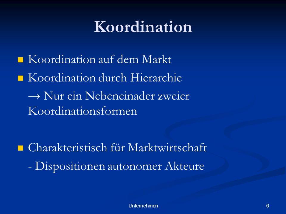 6Unternehmen Koordination Koordination auf dem Markt Koordination durch Hierarchie Nur ein Nebeneinader zweier Koordinationsformen Charakteristisch für Marktwirtschaft - Dispositionen autonomer Akteure