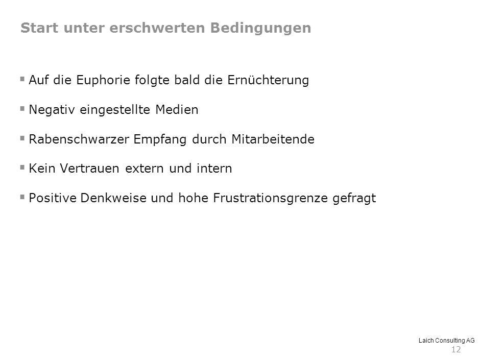 Laich Consulting AG 12 Start unter erschwerten Bedingungen Auf die Euphorie folgte bald die Ernüchterung Negativ eingestellte Medien Rabenschwarzer Em