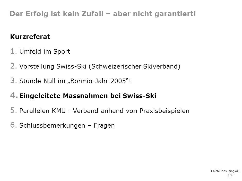 Laich Consulting AG 13 Kurzreferat 1. Umfeld im Sport 2. Vorstellung Swiss-Ski (Schweizerischer Skiverband) 3. Stunde Null im Bormio-Jahr 2005! 4. Ein