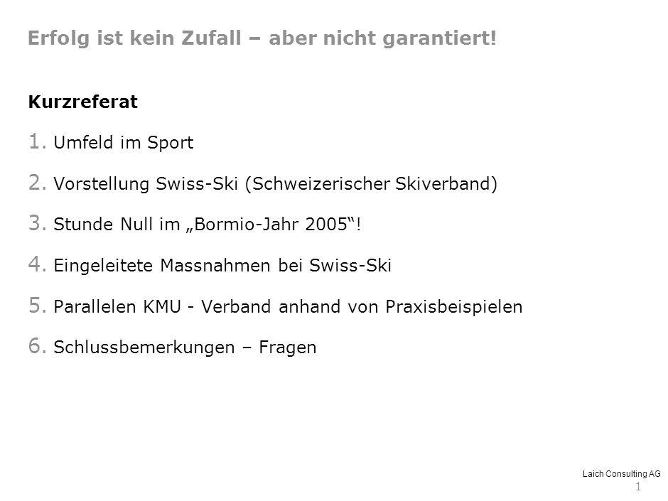 Laich Consulting AG 1 Kurzreferat 1. Umfeld im Sport 2. Vorstellung Swiss-Ski (Schweizerischer Skiverband) 3. Stunde Null im Bormio-Jahr 2005! 4. Eing