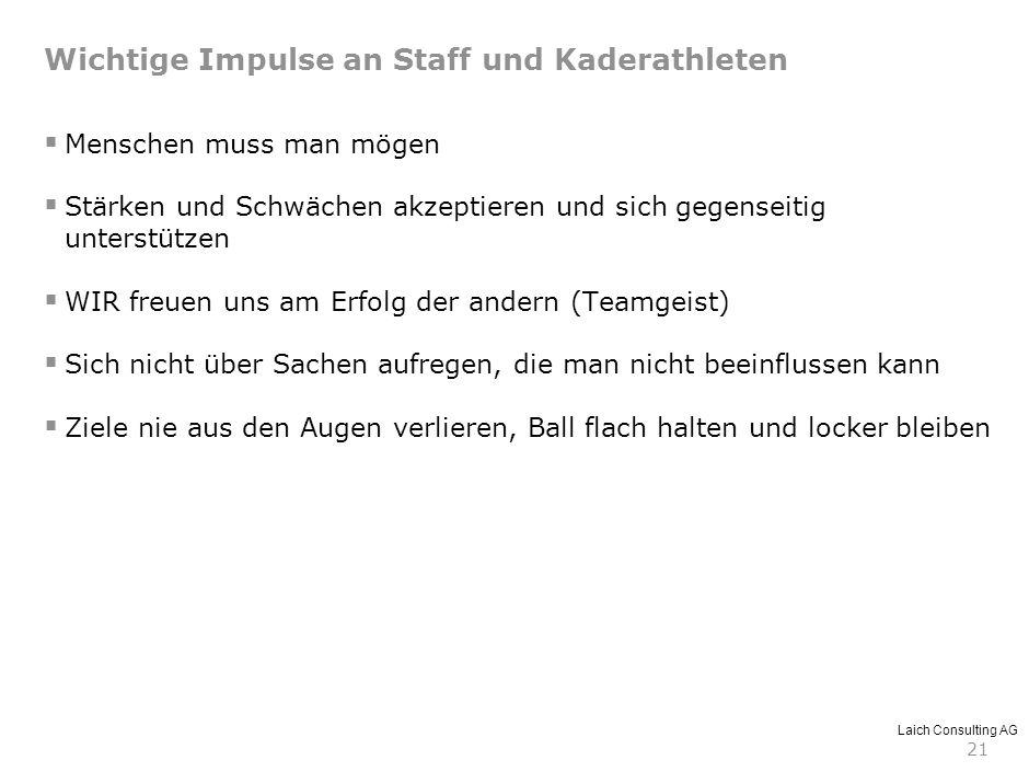 Laich Consulting AG 21 Wichtige Impulse an Staff und Kaderathleten Menschen muss man mögen Stärken und Schwächen akzeptieren und sich gegenseitig unte