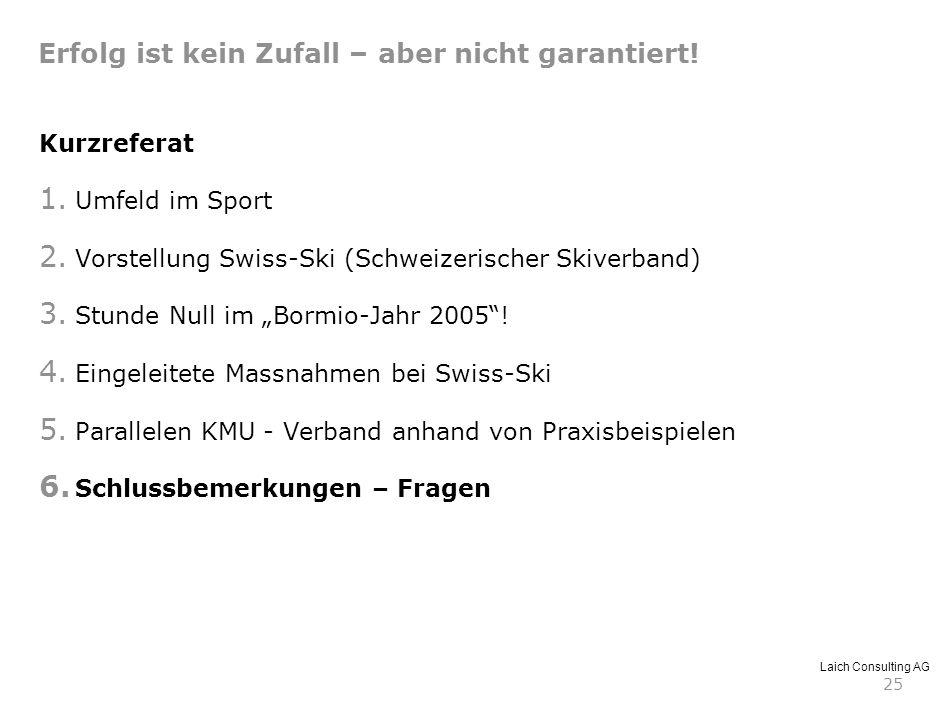 Laich Consulting AG 25 Kurzreferat 1. Umfeld im Sport 2. Vorstellung Swiss-Ski (Schweizerischer Skiverband) 3. Stunde Null im Bormio-Jahr 2005! 4. Ein