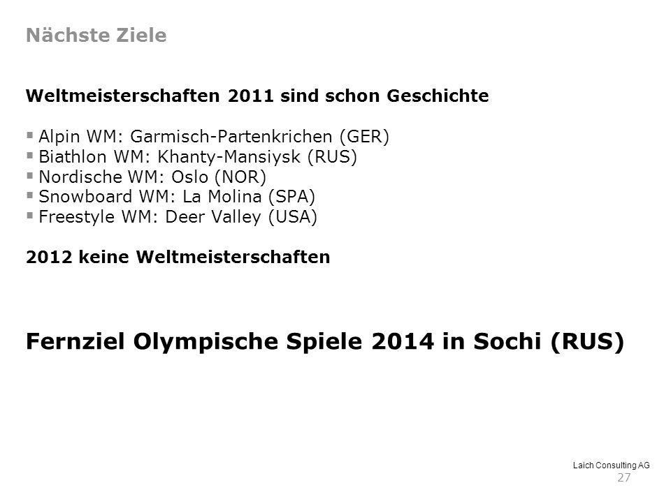 Laich Consulting AG 27 Weltmeisterschaften 2011 sind schon Geschichte Alpin WM: Garmisch-Partenkrichen (GER) Biathlon WM: Khanty-Mansiysk (RUS) Nordis